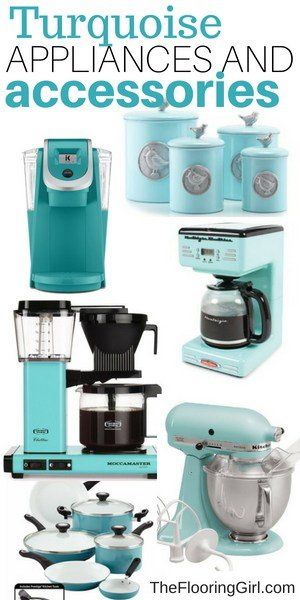 turquoise appliances, coffee makers and kitchen accessories
