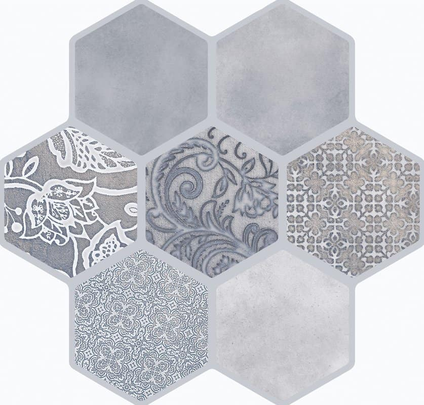 gray vintage hexagon tiles