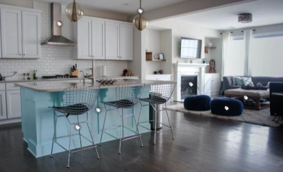 kitchen island in turquoise or aqua