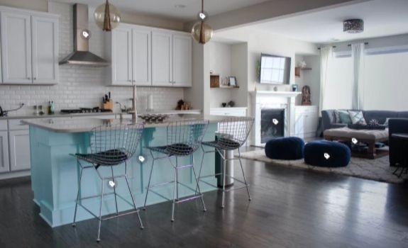 kitchen island in turquoise or aqua