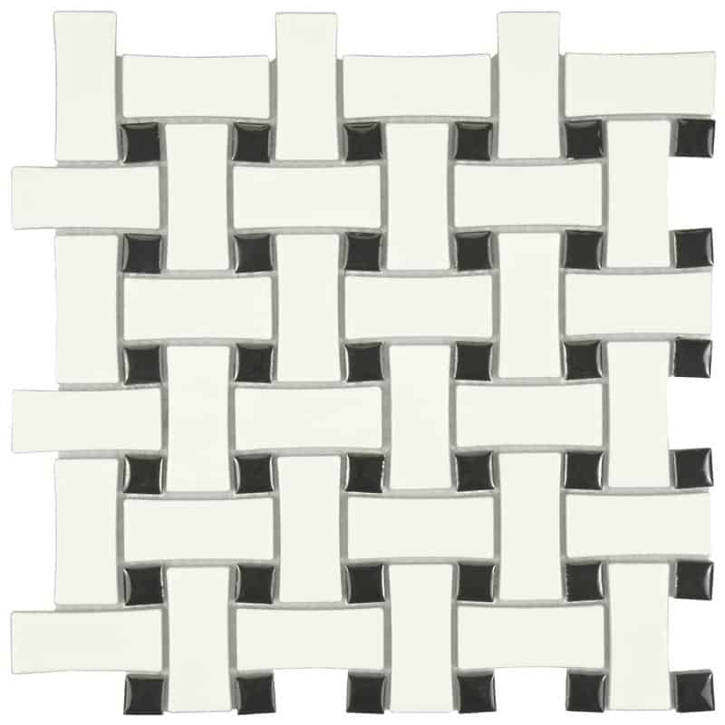 basketweave - retro and vintage black and white tile for bathrooms