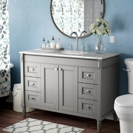 vanity trends for bathrooms - white marble counter tops
