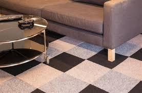 Berber carpet tiles in a 3 color pattern