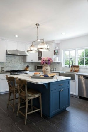 navy blue for kitchen island - best shades of paints for kitchen cabinets