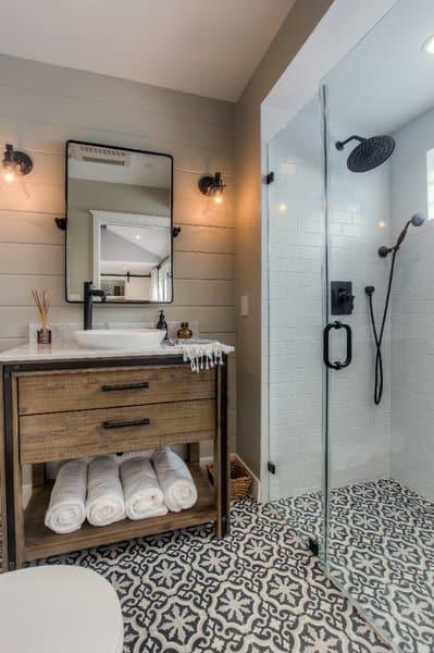 modern farmhouse style bathroom with universal design