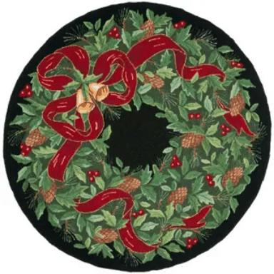 christmas wreath rug round