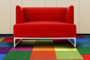 Colorful carpet tile - 2019 flooring trends - Shaw color accents