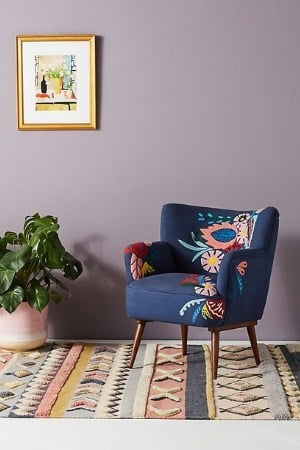 mid century modern navy and colored accent chiar