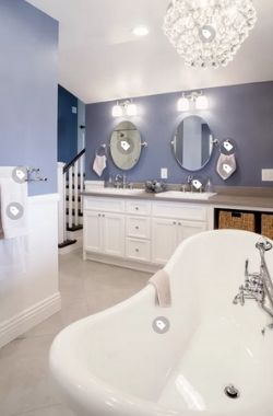 bathroom with blue gray paint