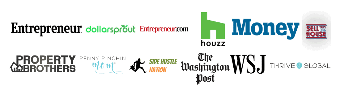 photo depicting logos of places where flooring girl has been featured including entreprenuer washington journal money the washington post houze property brothers dollarsprout thriveglobal and more