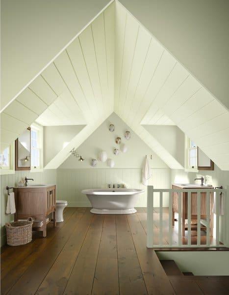 modern farmhouse style bathrooms - 3rd floor converted attic space