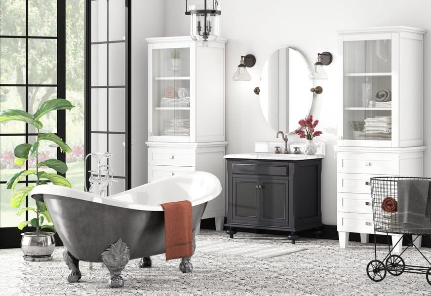 modern farmhouse style bathrooms - black and white claw foot tub and vanity
