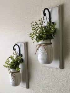 Easy ways to add Farmhouse Decor - farmhouse mason jar planters