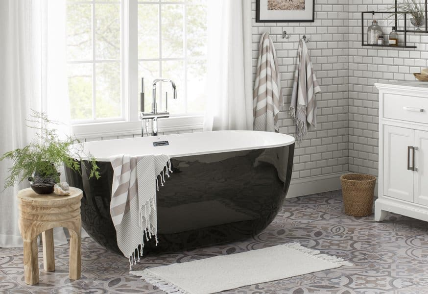 farmhouse bathroom with gray and white stenciled floors