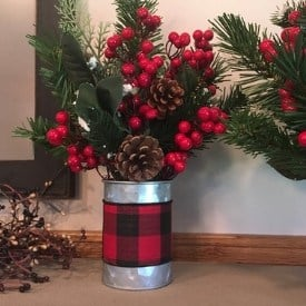 farmhouse galvanized metal vase for holidays