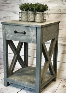farmhouse style end table - weathered gray criss cross