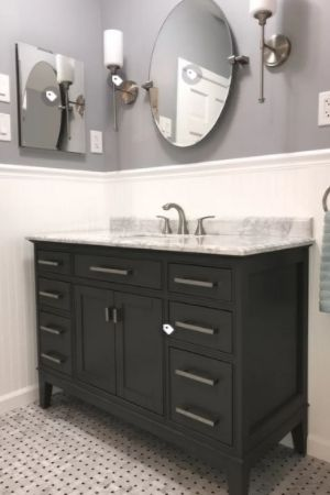 how to seal grout -gray bathroom with wainscoting
