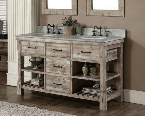 modern farmhouse bathroom - rustic vanity