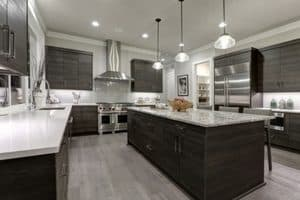 2019 flooring trends | porcelain tile that looks like wood | gray modern kitchen