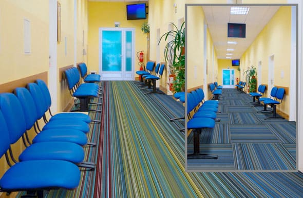 monolithic vs quarter turn carpet tile layout