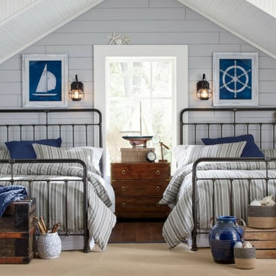 farmhouse style bedrooms with gray shiplap and nautical decor