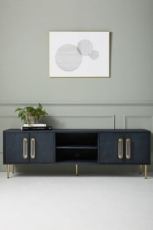 mid-century modern style console - navy and gold