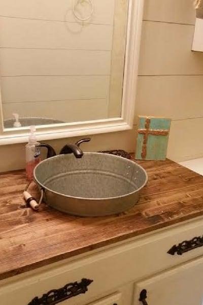 farmhouse shiplap bathroom in off white