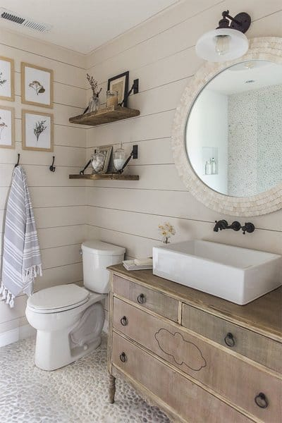 modern farmhouse bathrooms - shiplap and rustic vanity