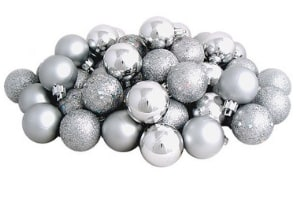 silver ornmaments for farmhouse style christmas decorating