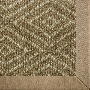 woven sisal area rug with diamond pattern and cotton border