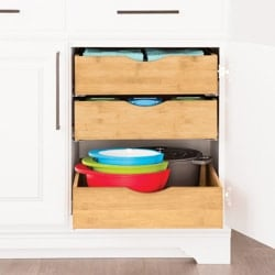kitchen cabinet organization ideas lower cabinet bamboo shelves