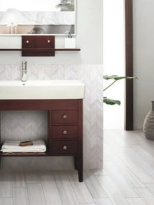 2020 bathroom flooring trends - wood look tiles