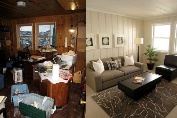 paint wood paneling to brighten up your basement