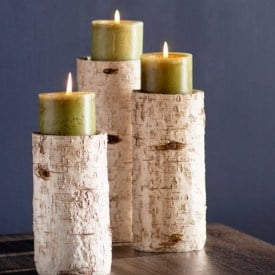 farmhouse style holiday decor - birch candle holders