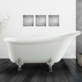 white clawfoot bathtub - bathroom floor tile trends
