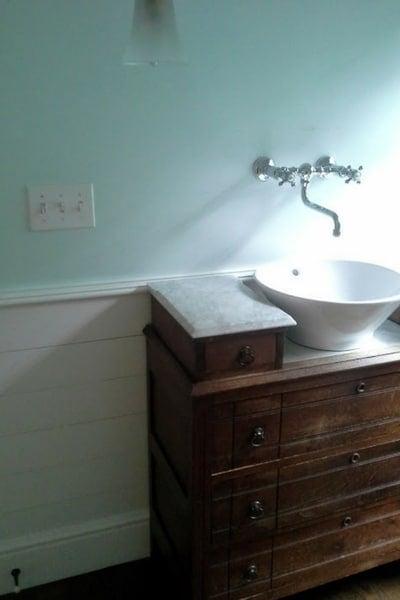 shiplap in powder room for contemporary farmhouse decor